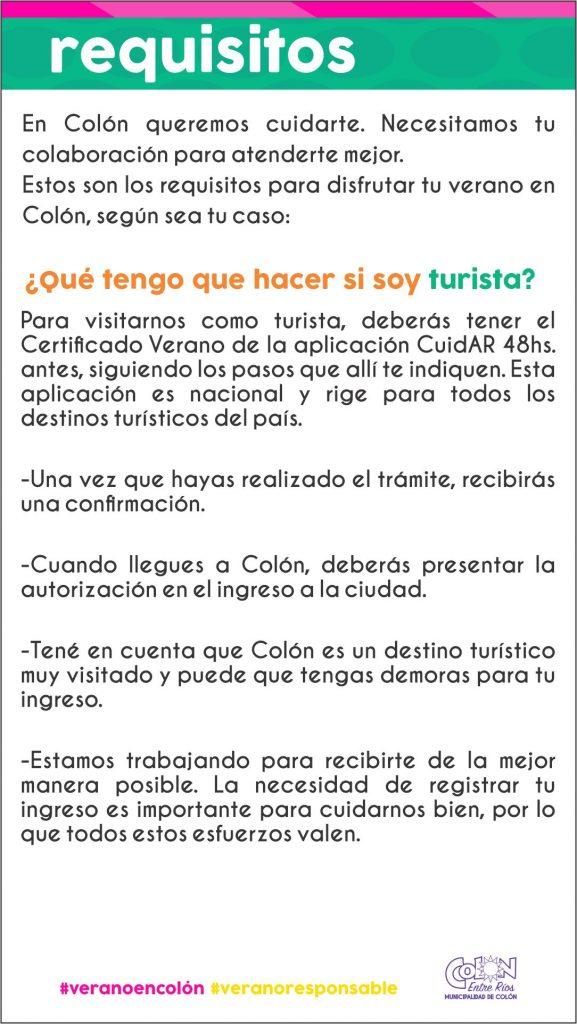 Requisitos para el ingreso a Colón